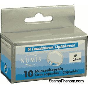 28mm - Coin Capsules (pack of 10)-Lighthouse Capsules-Lighthouse-StampPhenom