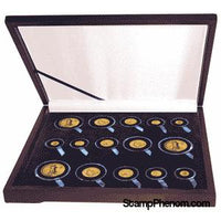 Guardhouse Wood Display Box -GH-W1600: Gold Type Sets (6S,3M,3L,3XL)-Display Boxes for Round Coin Holders-Guardhouse-StampPhenom