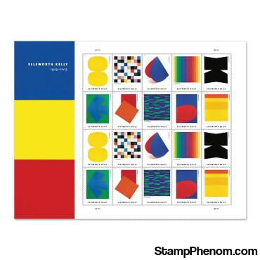 United States of America - Ellsworth Kelly - Pane of 20-stamp-USPS-StampPhenom