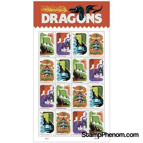 United States of America - Dragons - Pane of 16-Stamps-USPS-StampPhenom