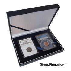 Leatherette Display Box - 2 Slab Universal-Display Boxes for Certified Coins-Guardhouse-StampPhenom