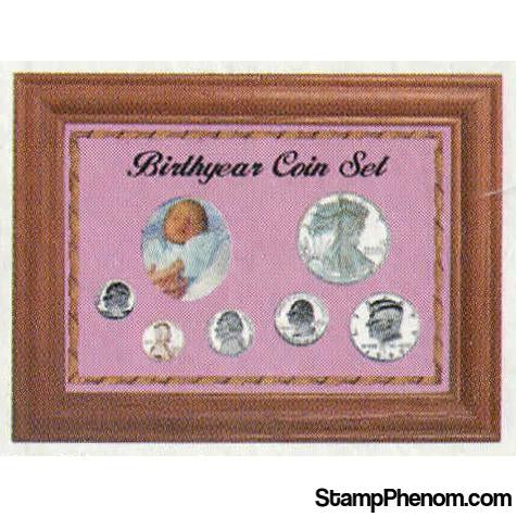 Solid Oak Birthyear Coin Frame Cent to ASE - Pink | Edgar Marcus-Coin Collecting For Kids-Edgar Marcus-StampPhenom