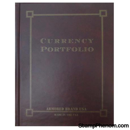 Currency Portfolio- Burgundy-Slab and Currency Albums-Armored Brand USA-StampPhenom