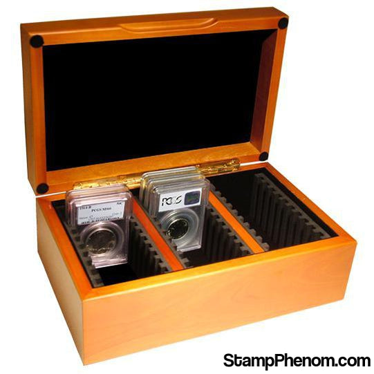 Wood Display Box - 30 NGC or PCGS Slab-Display Boxes for Certified Coins-Guardhouse Display Boxes-StampPhenom