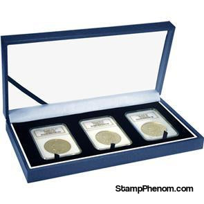 Leatherette Display Box - 3 Slab Universal-Display Boxes for Certified Coins-Guardhouse-StampPhenom