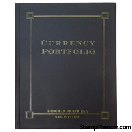 Currency Portfolio- Black-Slab and Currency Albums-Armored Brand USA-StampPhenom