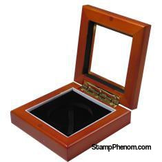 Guardhouse 3.87x3.87 Glass-top Wood Display Box - Holds Large Sized Capsule-Challenge Coin Boxes and Displays-Guardhouse-StampPhenom