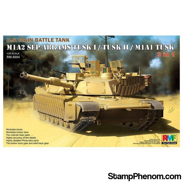 Ryefield - M1A2 SEP Abrams TUSK I / TUSK II / M1A1 TUSK (3 in 1) 1:35-Model Kits-Ryefield-StampPhenom