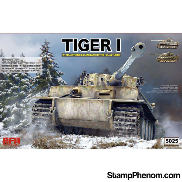 Ryefield - Tiger I Sd.Kfz.181 with Full Interior & Clear Parts of Hull & Turret 1:35-Model Kits-Ryefield-StampPhenom