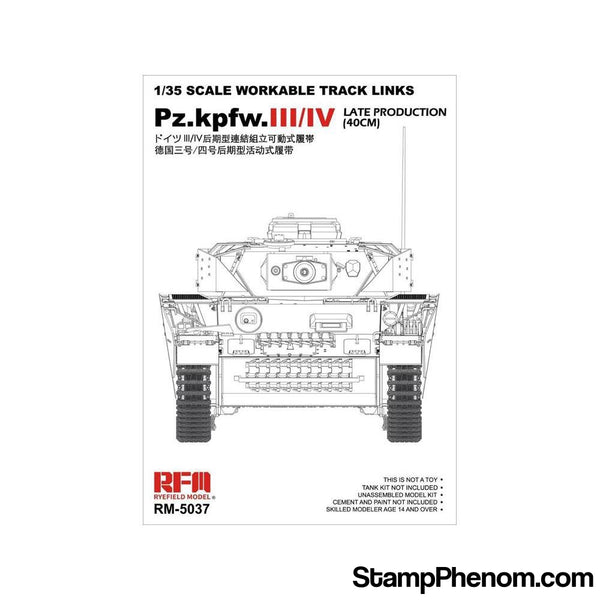 Ryefield - Panzer Pz.Kpfw.III.IV Late Production 40cm Workable Transport Track Links Set 1:35-Model Kits-Ryefield-StampPhenom