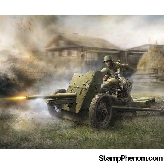 Zvezda - WWII Soviet 45mm Anti-Tank Gun with Crew (2) (Snap Kit) 1:72-Model Kits-ZveZda-StampPhenom