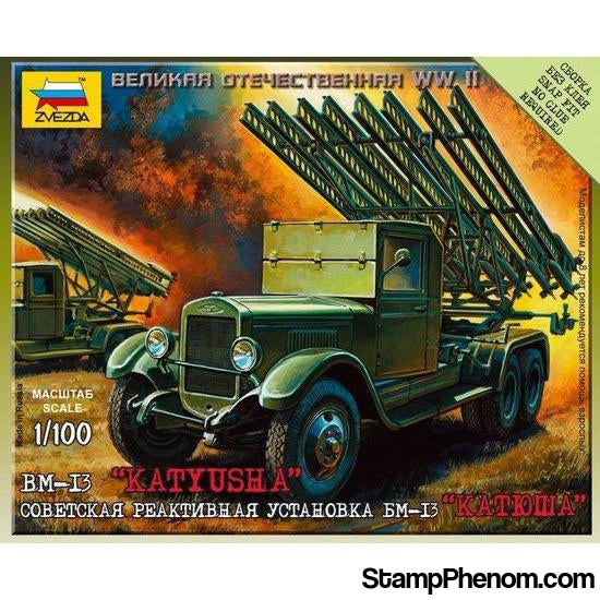 Zvezda - WWII Russian BM-I3 Katyusha Rocket Launcher (Snap Kit) 1:100-Model Kits-ZveZda-StampPhenom