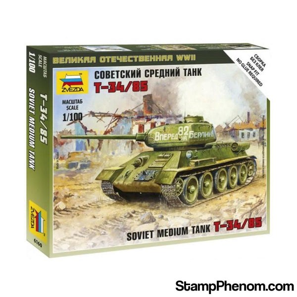Zvezda - WWII Soviet T-34/85 Medium Tank (Snap Kit) 1:100-Model Kits-ZveZda-StampPhenom