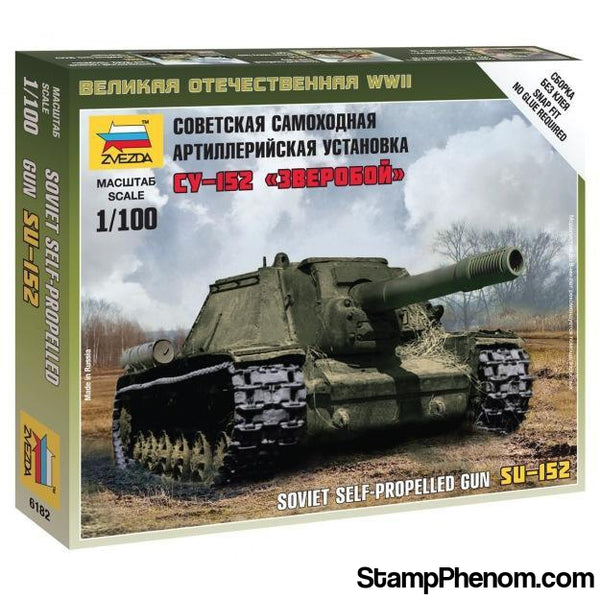 Zvezda - WWII Su-152 Self-Propelled Gun Tank (Snap Kit) 1:100-Model Kits-ZveZda-StampPhenom