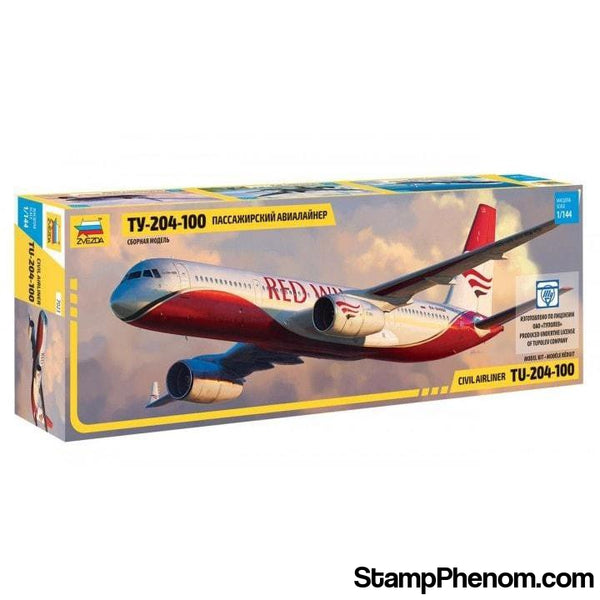 Zvezda - Tupolev Tu204-100 Red Wings Passenger Airliner 1:144-Model Kits-ZveZda-StampPhenom