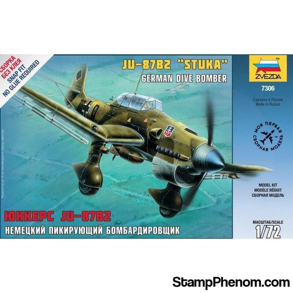 Zvezda - Ju-87B Stuka German Dive Bomber (Snap Kit) 1:72-Model Kits-ZveZda-StampPhenom