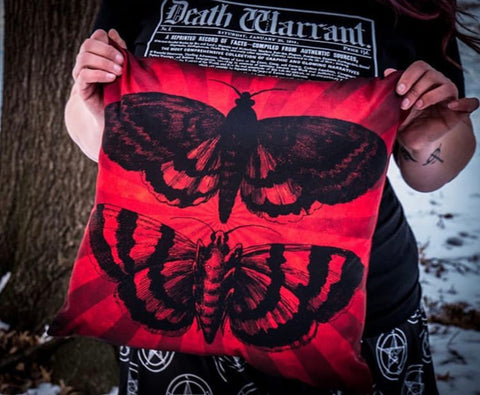 Moth pillow CemeterySwag goth pillow black and red