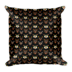 Vintage Halloween Cat Throw Pillow- 1 - Cemetery Swag