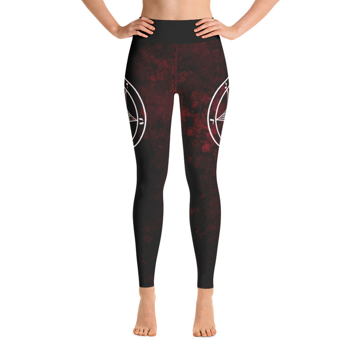 Red Baphomet Yoga Pants - Cemetery Swag