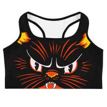 Load image into Gallery viewer, Vintage Halloween Cat Sports Bra - Cemetery Swag