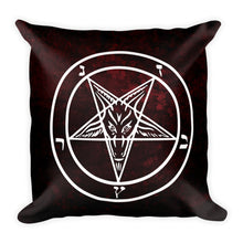 Load image into Gallery viewer, Red Baphomet Throw Pillow - Cemetery Swag
