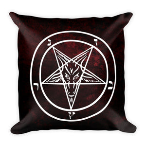 Red Baphomet Throw Pillow - Cemetery Swag