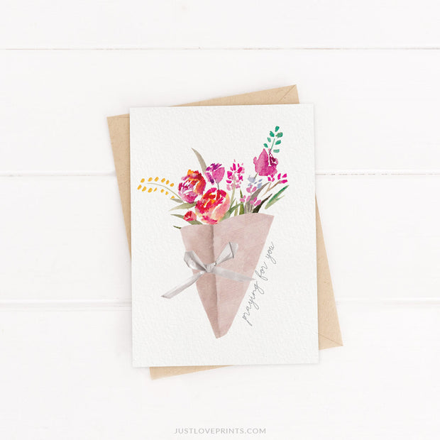LAST CHANCE SALE | Praying for you Greeting Card | Spiritual Bouquet