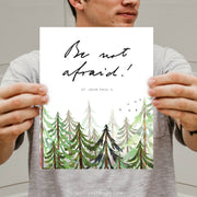 Be Not Afraid in St. John Paul II's Actual Handwriting | Forest Watercolor
