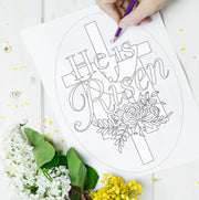 """He is Risen"" Colorable Easter Decor"