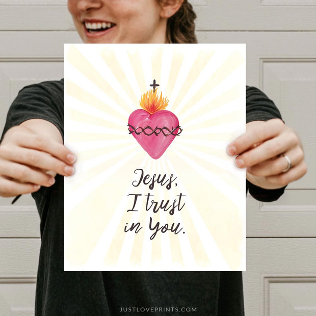Jesus I trust in You | St. Faustina Print | Sacred Heart Image