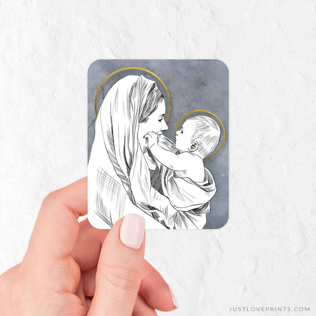 Mary Playing with Baby Jesus Vinyl Sticker