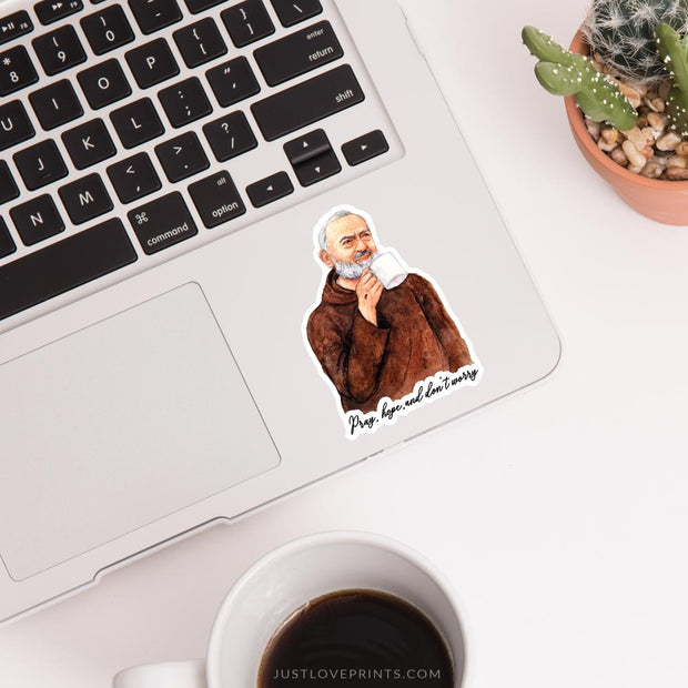 "St. Padre Pio ""Sipping with the Saints"" Vinyl Sticker"