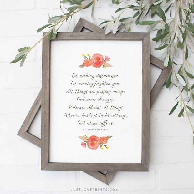 Prayer of St. Teresa of Avila | Orange Floral