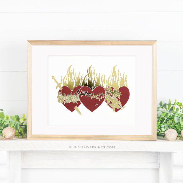 Holy Family Hearts with Gold Foil Accents
