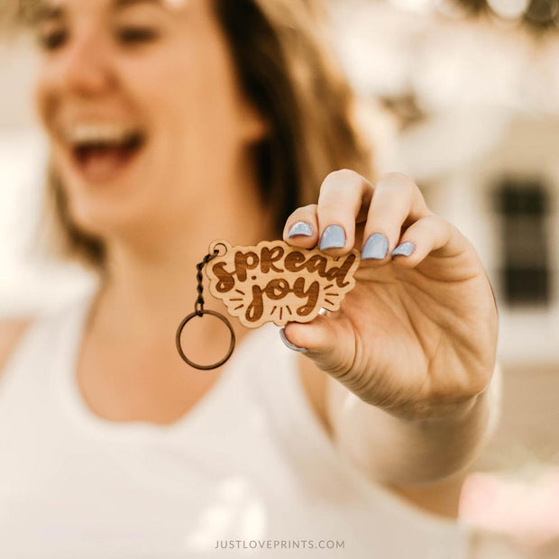 Spread Joy Engraved Keychain