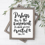 """Perhaps this is the moment for which you were created."" 