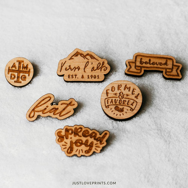 Spread Joy Engraved Pin