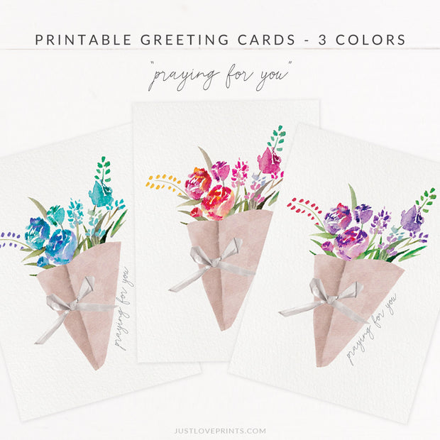 "Downloadable ""Praying for You"" Greeting Cards - 3 Colors"