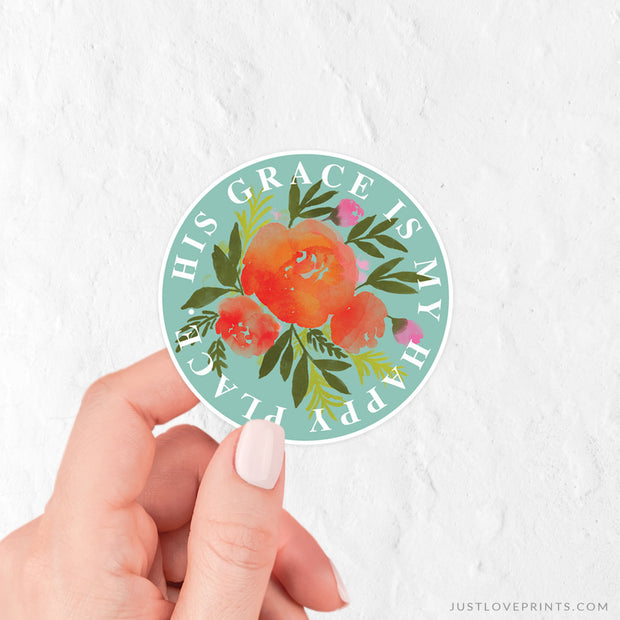 His Grace is My Happy Place Vinyl Sticker