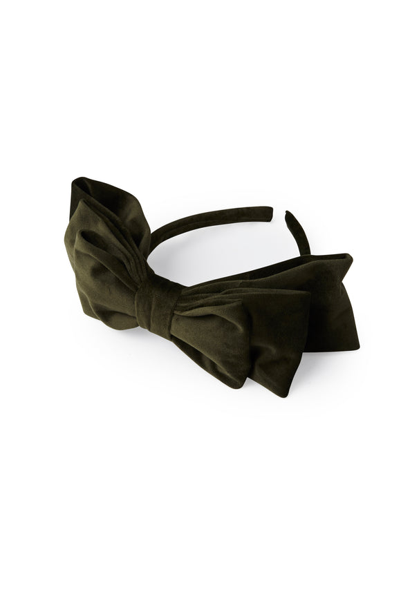 Headband with a big bow in olive green color