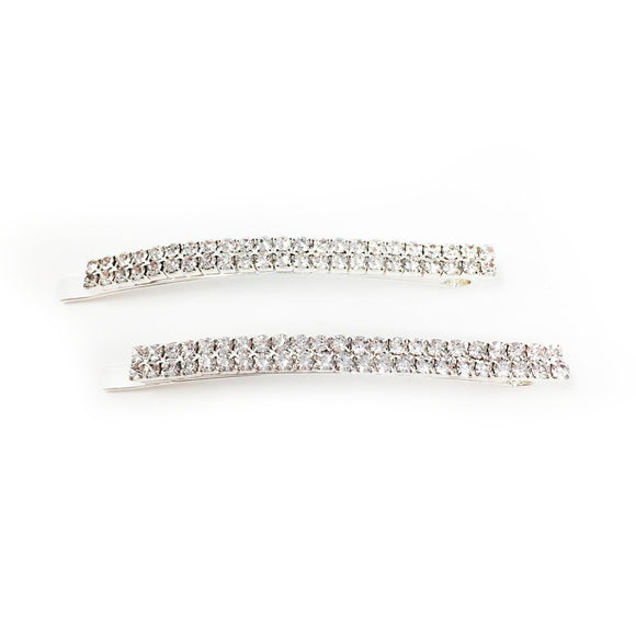 Crystal Row Hair Pin 2pk Silver