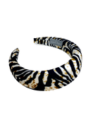 Padded velvet headband in ltiger pattern