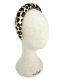 Padded velvet headband in leopard pattern