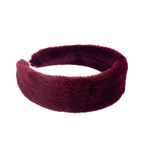 Furry headband in dark red color
