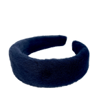 Furry headband in dark blue color