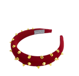 Red padded headband with gold spikes