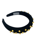 Black padded headband with gold spikes