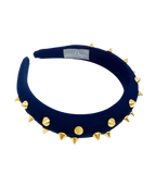 Dark blue padded headband with gold spikes