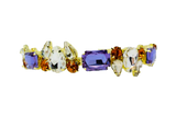Multi colored crystal headband in gold