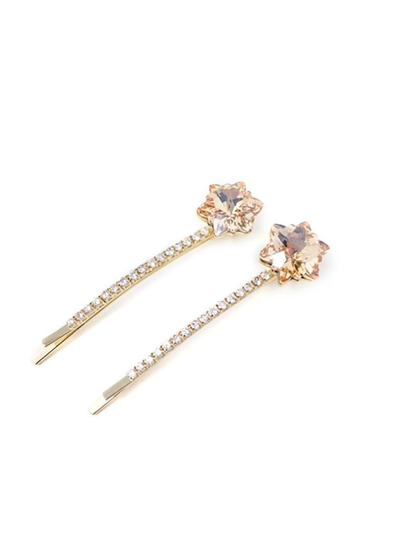 Embellished Dodecagram Star Hair Pin 2-pack Champagne